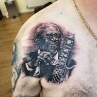 B.B. King portrait tattoo by Justyna. #justynakurzelowska #darkrosetattoo #bbking