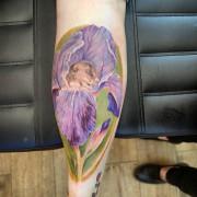 Iris flower and mouse ☺ by Justyna. #colortattoo #darkrosetattoo #tatuażkolorowy #intenzeink #cheyennetattooequipment