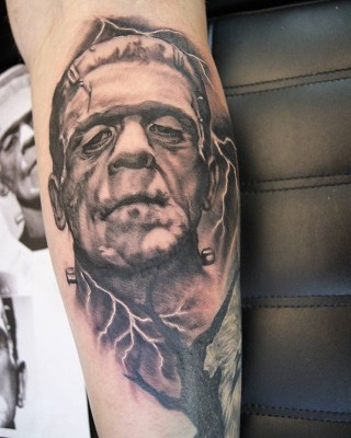 Horror sleeve in process. Frankenstein tattoo by Justyna. #justynakurzelowska #darkrosetattoo #where_they_tatt #worldfamousink