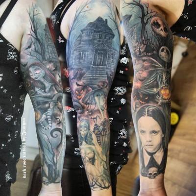 Tim Burton characters tattoo sleeve by Justyna. #justynakurzelowska #darkrosetattoo #timburton #nightmarebeforechristmas #wednesdayaddams #corpsebride
