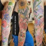 Flower power tattoo sleeve (healed) by Justyna #justynakurzelowska #darkrosetattoo