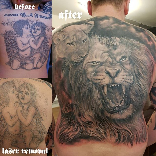 Another happy coverup tattoo by Justyna. Laser tattoo fading by Marek. #justynakurzelowska #marekkurzelowski #darkrosetattoo