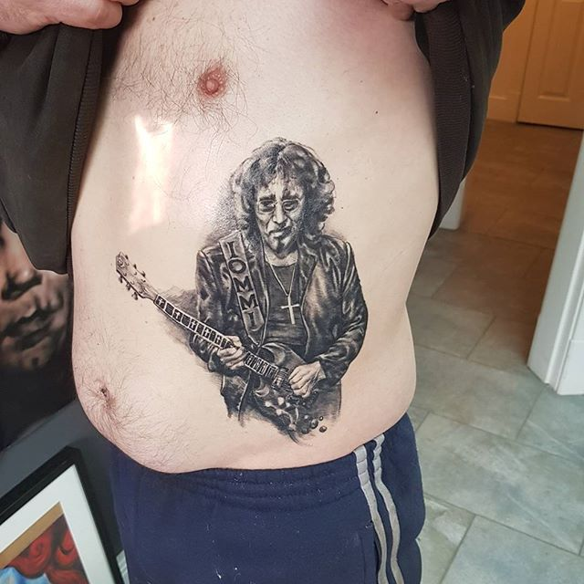 Tony Iommi portrait tattoo by Justyna. #justynakurzelowska #darkrosetattoo #tonyiommi #blacksabbath