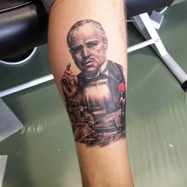 The Godfather tattoo by Justyna. #justynakurzelowska #darkrosetattoo #thegodfather #mariopuzo #vitocorleone