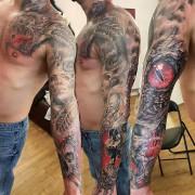 Dragon sleeve tattoo by Justyna. #justynakurzelowska #darkrosetattoo