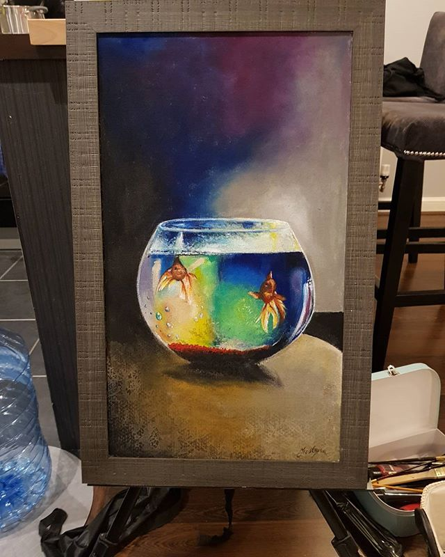 Justyna's new painting 'two lost souls, swimming same fish bowl' #justynakurzelowska #wishyouwerehere