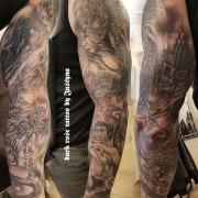 Another happy full sleeve tattoo by Justyna. #justynakurzelowska #darkrosetattoo #fullsleevetattoo