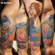 Mermaid and ocean creatures by Justyna. #JustynaKurzelowska #colourtattoo @darkrosetattoo