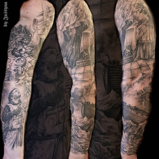 Religious full sleeve tattoo created by #JustynaKurzelowska @darkrosetattoo