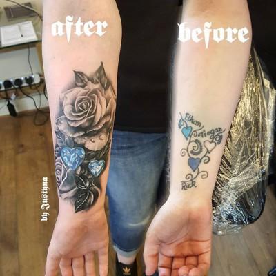 Another happy coverup tattoo created by #JustynaKurzelowska @darkrosetattoo