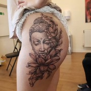 Buddha tattoo done by #JustynaKurzelowska  @darkrosetattoo