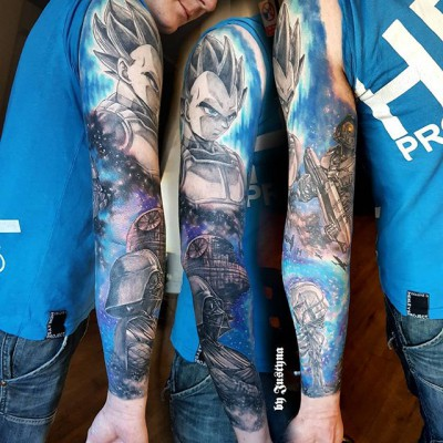 Fantastic colour sleeve created by #JustynaKurzelowska @darkrosetattoo 