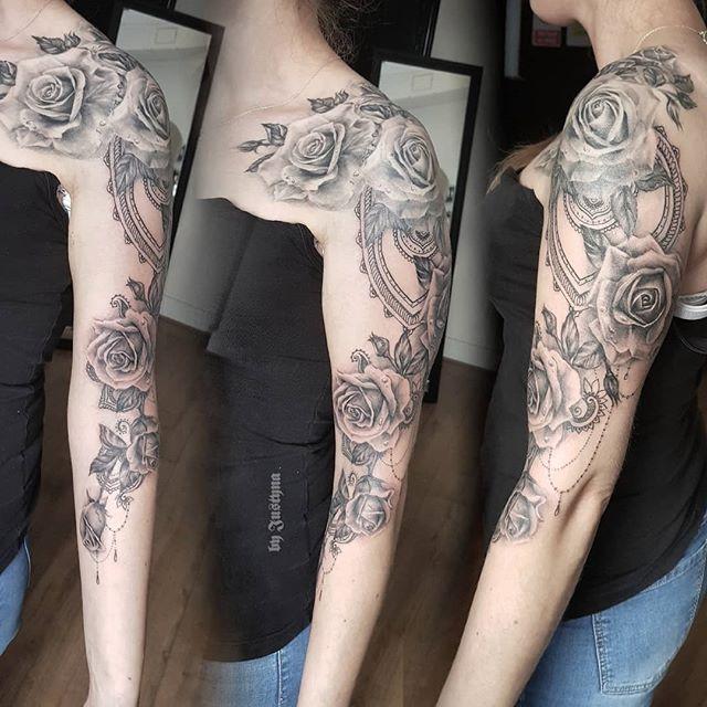 Roses half sleeve tattoo by #JustynaKurzelowska @darkrosetattoo