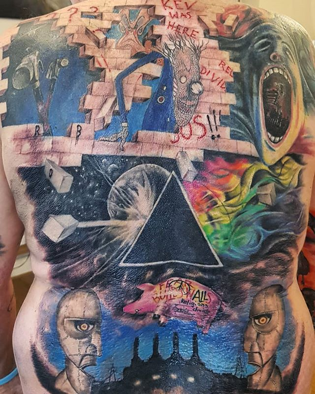 Burn scars and old tattoo coverup completed today by #JustynaKurzelowska @darkrosetattoo  @pinkfloyd #tattoo